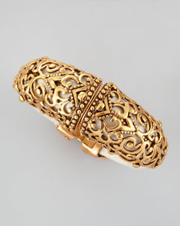 Oscar de la Renta Filigree Resin Hinged Cuff, Ivory