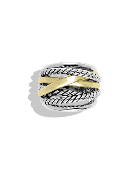 Crossover Wide Ring with Gold