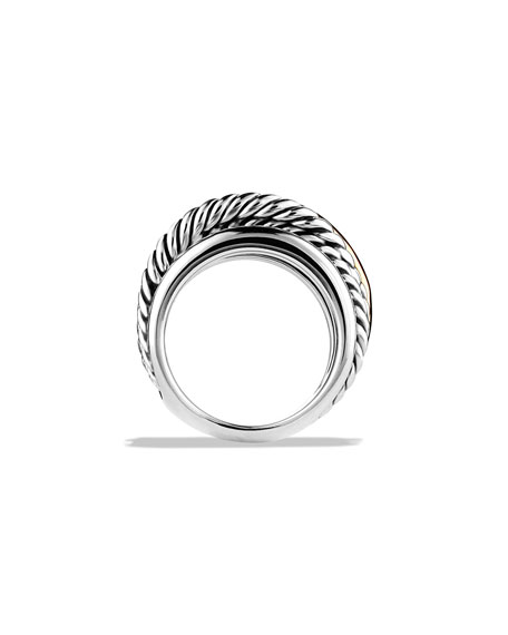 Crossover Narrow Ring with Silver/Gold