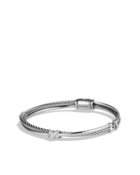 X Crossover Bracelet with Diamonds