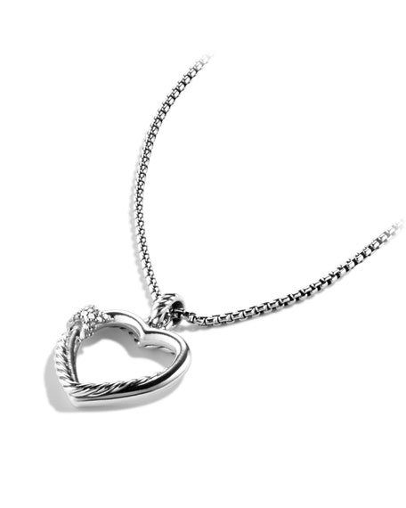 Petite X Heart Pendant with Diamonds on Chain