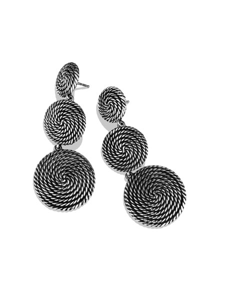 Cable Coil Three-Drop Earrings