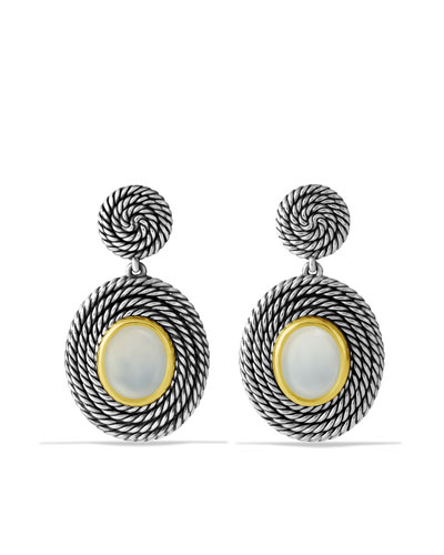 David Yurman Cable Coil Double-Drop Earrings with Moon Quartz and Gold