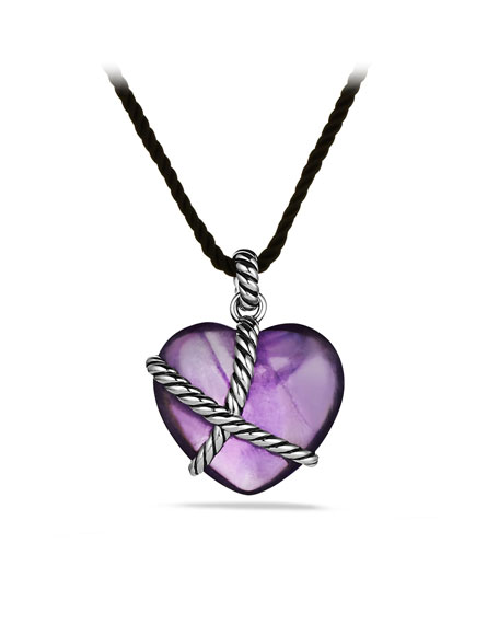 Cable Heart Pendant with Amethyst on Cord