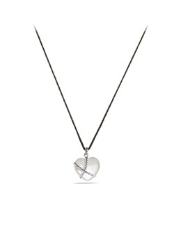 David Yurman Cable Heart Pendant with Crystal on Cord