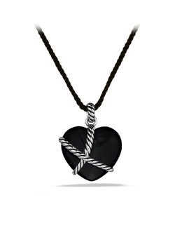 David Yurman Cable Heart Pendant with Black Onyx on Cord