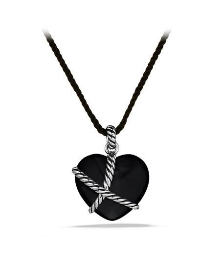 Cable Heart Pendant with Black Onyx on Cord