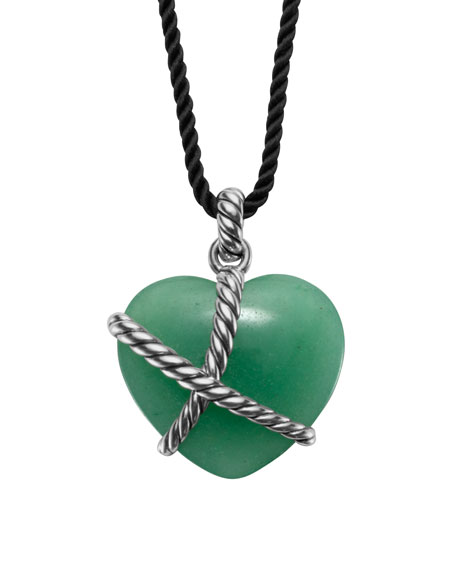 Cable Heart Pendant with Aventurine on Cord