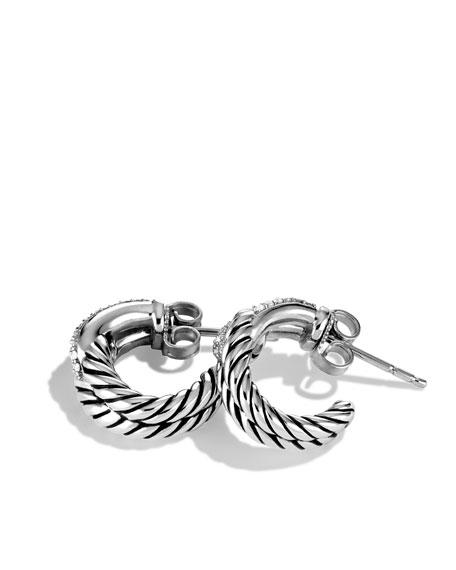 Labyrinth Single-Loop Earrings with Diamonds