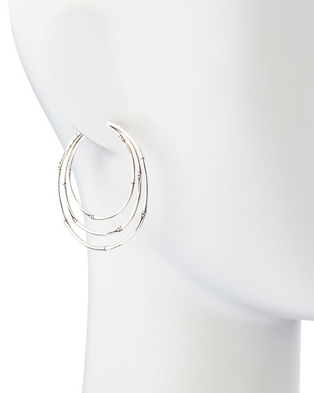 Bamboo Silver Large Orbital Hoop Earrings