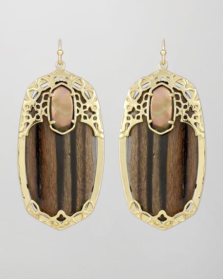 Deva Earrings, Ebony Wood
