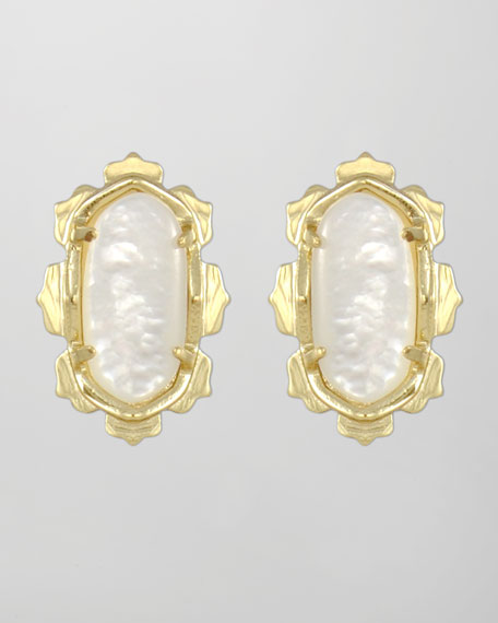 Shina Stud Earrings, Mother-of-Pearl
