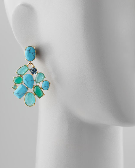 crystal cluster bib clip earrings, turquoise