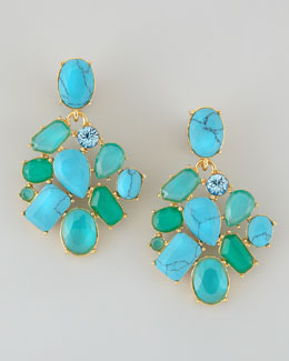 kate spade new york crystal cluster bib clip earrings, turquoise