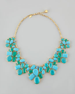 kate spade new york crystal cluster bib necklace, turquoise