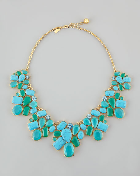 crystal cluster bib necklace, turquoise