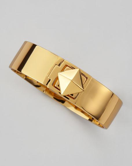 pyramid lock thin bangle, golden