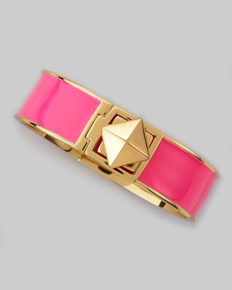 pyramid lock thin bangle, pink