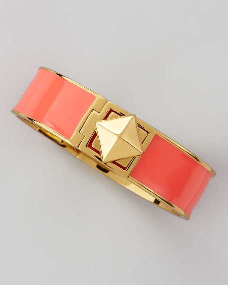 pyramid lock thin bangle, coral