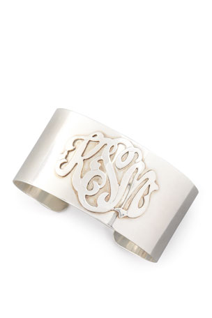 Moon and Lola Sterling Silver Script Monogram Cuff