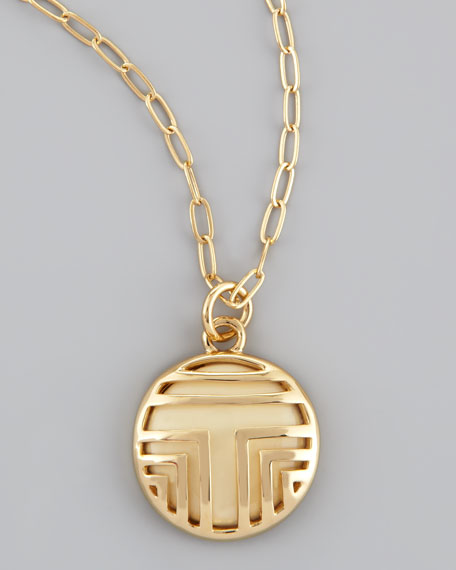 Fret T-Tiled Charm Necklace, Ivory