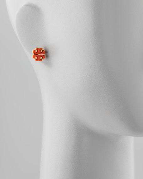 Enamel Double-T Stud Earrings, Dark Tart Red