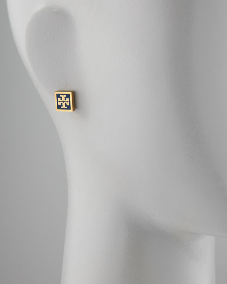 Enamel Square Logo Stud Earrings, Navy