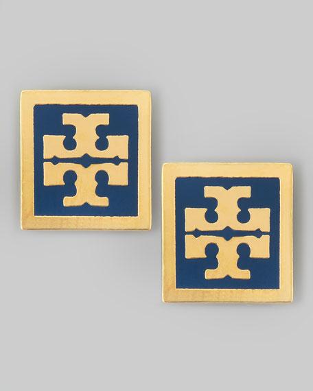 Enamel Square Logo Stud Earrings, Navy