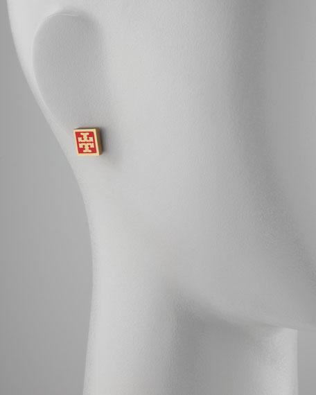 Enamel Square Logo Stud Earrings, Red