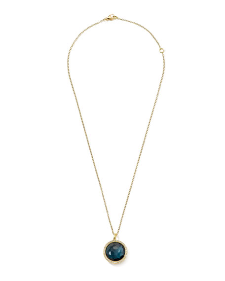 18k Gold Rock Candy Lollipop  Necklace, London Blue