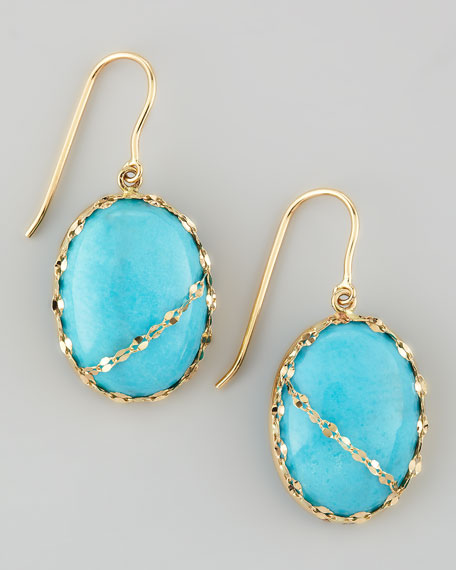 Turquoise Chain-Detail Drop Earrings