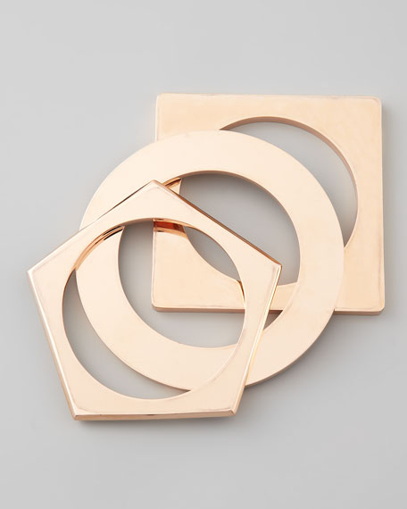 Set of 3 Geometric Bangles, Rose Golden