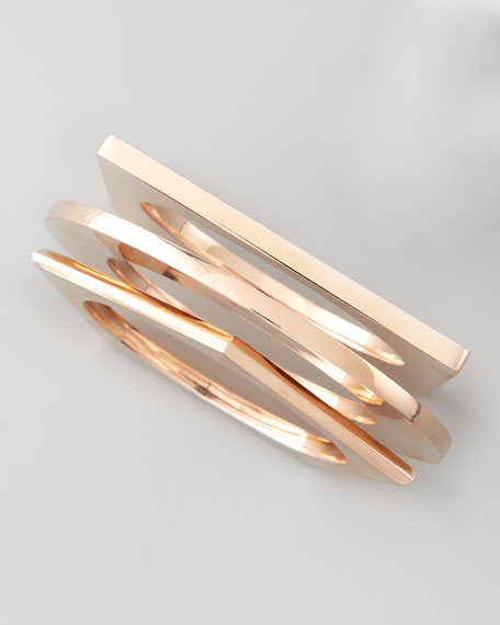Set of 3 Geometric Bangles, Rose Golden