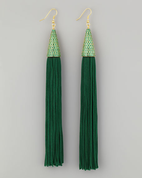 Tassel Earrings, Green