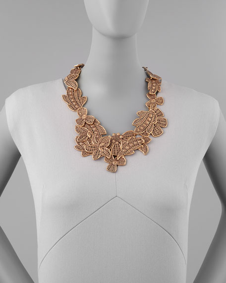 Antiqued Lace Bib Necklace