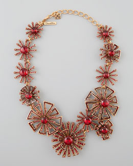 Oscar de la Renta Firework Link Necklace, Ruby Red