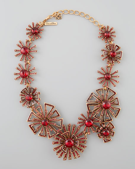 Firework Link Necklace, Ruby Red