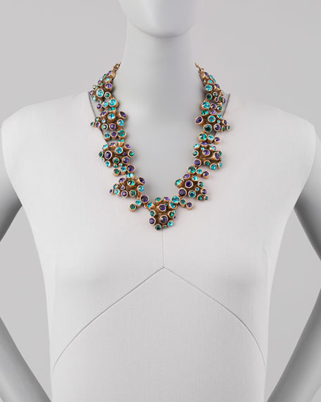 Clustered Crystal Necklace, Mulberry