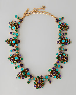 Oscar de la Renta Clustered Crystal Necklace, Mulberry