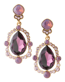 Oscar de la Renta Chandelier Crystal Earrings, Aubergine