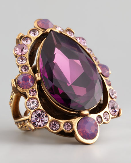 Pear-Cut Crystal Ring, Aubergine