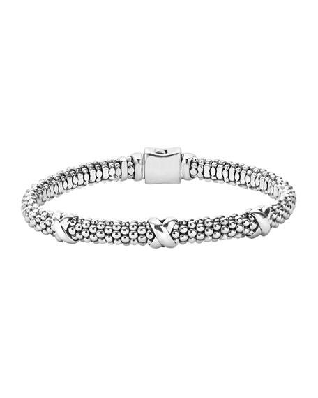 Lagos Silver X Rope Bracelet, 6mm