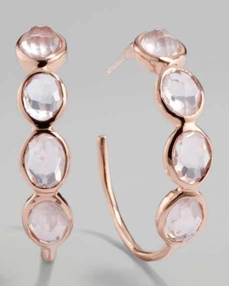 Rose Rock Candy Squiggle Hoop Earrings, Rose Quartz