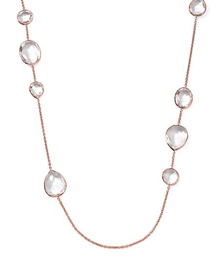 "Rose Rock Candy Clear Quartz Paparazzi Chain Necklace, 43"""