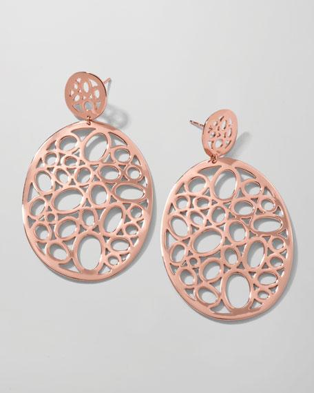 Rose Digital Lace Large Circle Drop Earrings