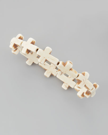 Cross Stone Stretch Bracelet, White