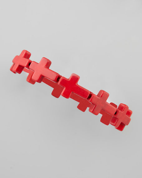 Cross Stone Stretch Bracelet, Red