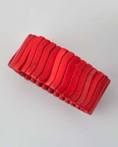 Stone Wave Stretch Bracelet, Red