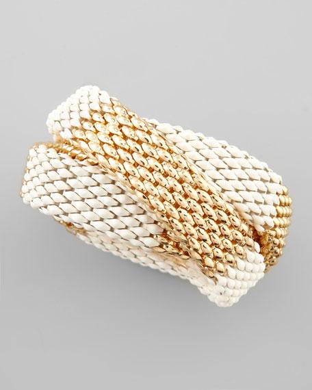 Two-Tone Chain Bracelet Set, White