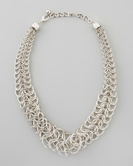 Chainmail Tube Necklace, Silver